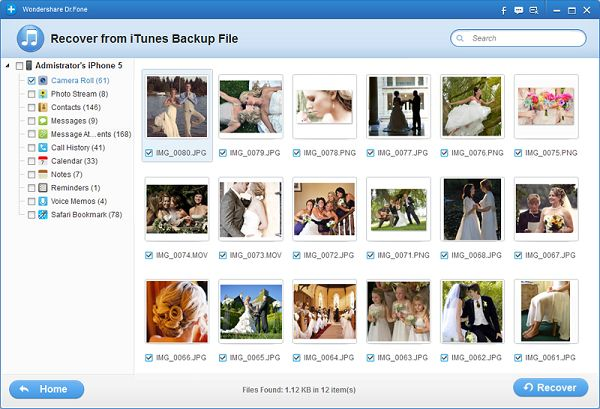 recover iPad photos from iTunes backup